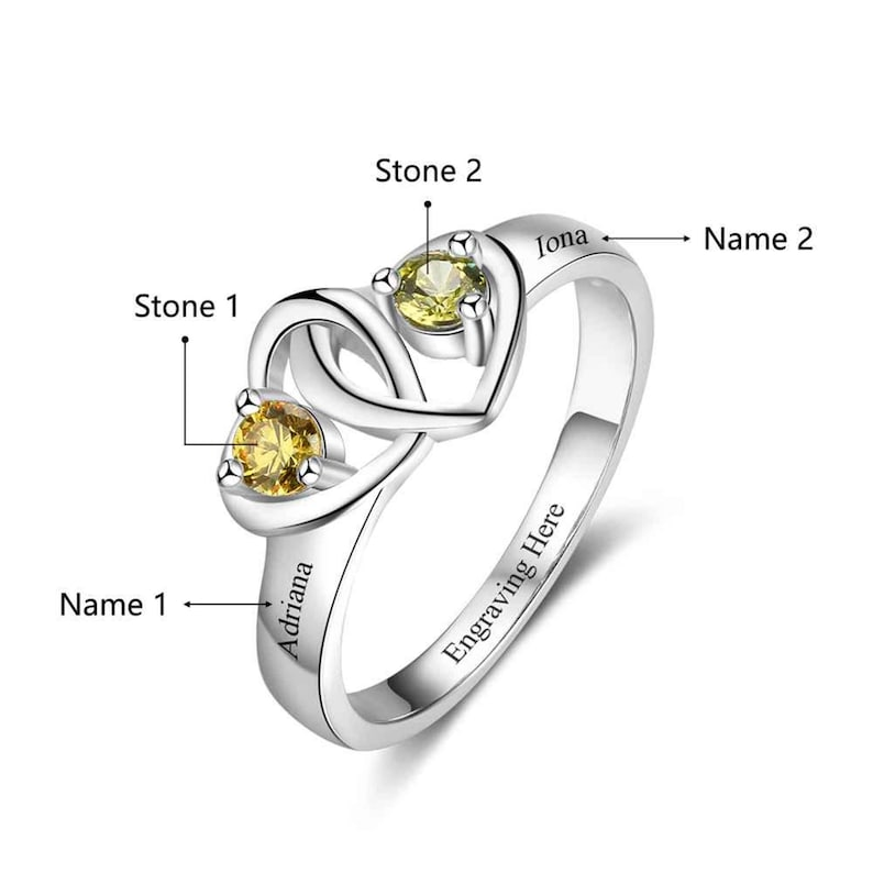 Mothers Ring 2 Stone 2 Name Engraved Sterling Silver Mothers Ring 2 Birthstone Family Ring 2 Stone Birthstone Ring for Mom from Kids