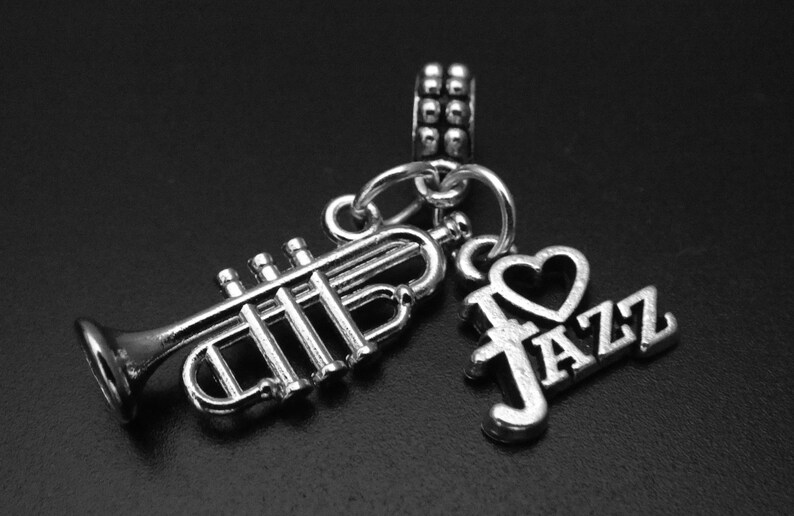Trumpet Charm Bead Trumpet Dangle Charm Trumpet Bracelet Trumpet and Jazz Charm fits European and Brand Bracelets Jazz Bracelet
