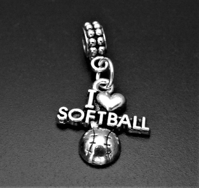 Softball Dangle Charm I love Softball Charm fits European and Brand Bracelets Softball Charm Bead Softball Bracelet -Softball Necklace