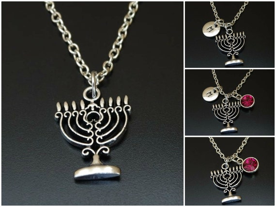 16-20 Sterling Silver Menorah Charm on a Sterling Silver Chain Necklace
