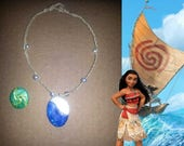 Moana Inspired Shell and Pearl Necklace with BONUS Glow-in-the-dark Heart of Te Fiti - Costume Jewelry - Princess Luau Jewelry