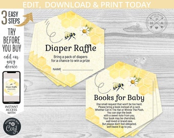Bee theme Diaper Raffle Sign /& Raffle Tickets Cute Honey Bees Editable Guessing Game Baby Shower Bumble Bee Templett Instant Download