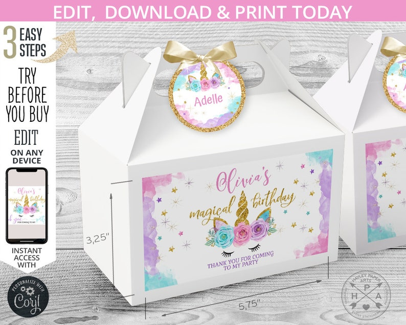 046HPA 28 B Instant access to the template Purple magical handle favor takeway EDITABLE Unicorn birthday gable gift box labels and tags