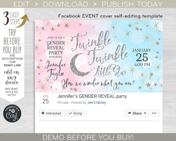 Twinkle Facebook Event Cover Social Media Banner Little Star Party Photo Gender Reveal Baby Shower Glitter Editable Template F009 05 By Hayleypaperarts Catch My Party