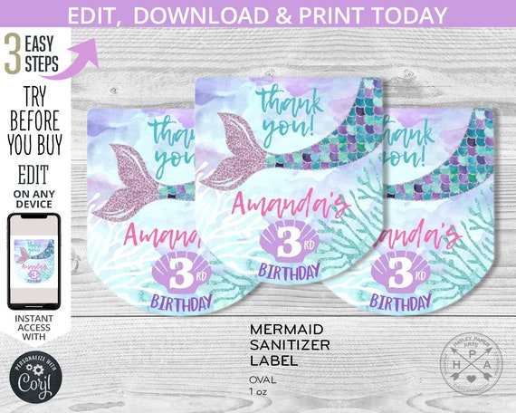 Mermaid Sanitizer Labels Baby Shower Thank you Celebrating Birthday Starfish Favor Shells Thanks for being Mermazing! Anchor