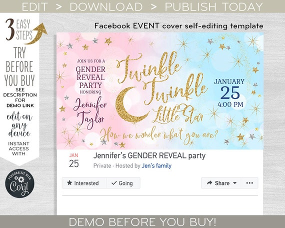 Twinkle Facebook Event Cover Social Media Banner Little Star Party Photo Gender Reveal Baby Shower Pink Blue Gold Editable Template F009 05 By Hayleypaperarts Catch My Party