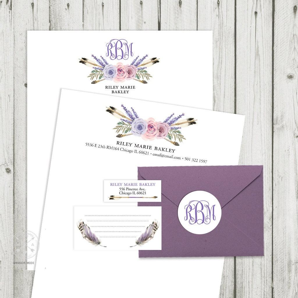 Sorority Recruitment Packet MIDI Pack Personal Branding Kit Resume Letterhead Lavender Purple Monogram Digital Files SOR040