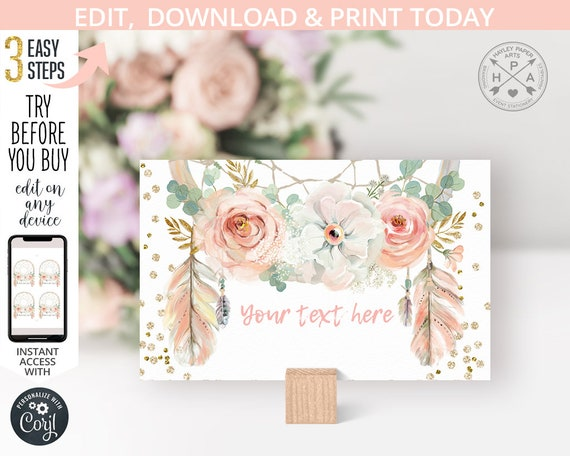 Boho Food Labels Editable Place Cards Template Food Tent Cards Printable Dusty Rose Boho Bridal Shower Baby Shower Instant Download B98 C96