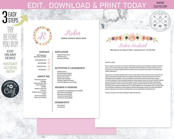 Editable Sorority Recruitment Packet Mini Pack Resume Cover