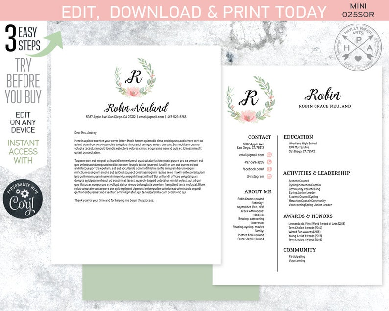 EDITABLE Sorority recruitment packet. MINI pack. Resume cover letter  template. Eucalyptus wreath. Instant download. Edited by you. SOR025