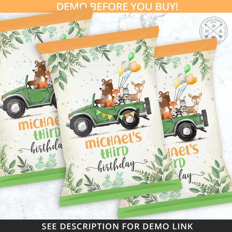 Woodland animals green jeep chips bag favor chip pouch wrapper snacks bags any age boy girl fall birthday party editable template 088HPA 21