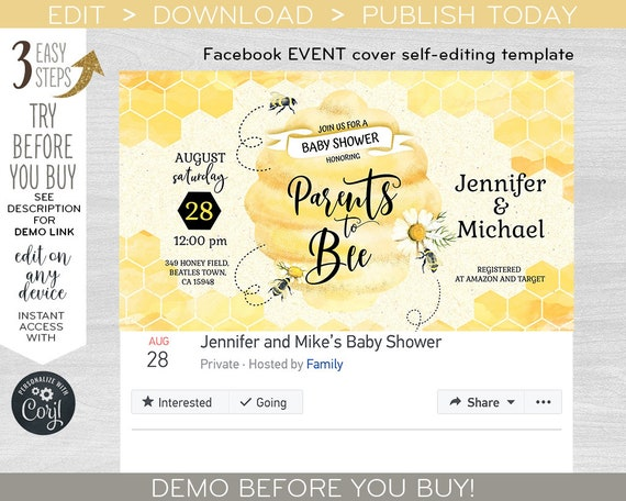 Bee Baby Shower Party Invite Facebook Event Cover Social Media Party Banner Virtual Invitation Editable Template F049 05 049hpa By Hayleypaperarts Catch My Party