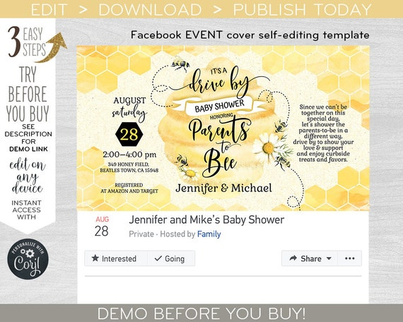 Drive By Bee Baby Shower Party Invite Facebook Event Cover Social Media Banner Virtual Invitation Editable Template F049 05 Q 049hpa By Hayleypaperarts Catch My Party
