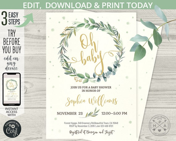 No Downloading software! Greenery Boho Printable Baby Shower Invitation Template EASY