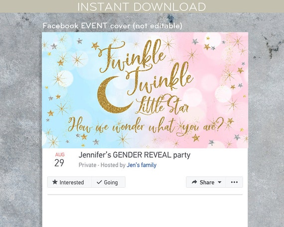Twinkle Little Star Facebook Event Cover Social Media Party Banner Photo Gender Reveal Baby Shower Instant Download Not Editable F009 05 By Hayleypaperarts Catch My Party