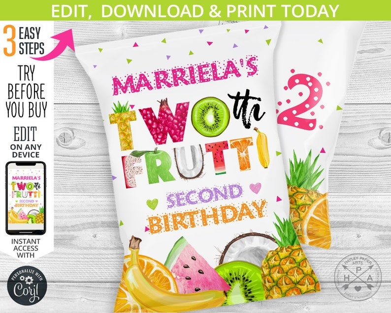 second birthday party Tutti 028HPA 30 A fruits bag chips pouch chip treat bags Twotti frutti snacks bag Editable template favors
