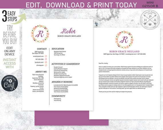EDITABLE Sorority recruitment packet. MINI pack. Resume ...