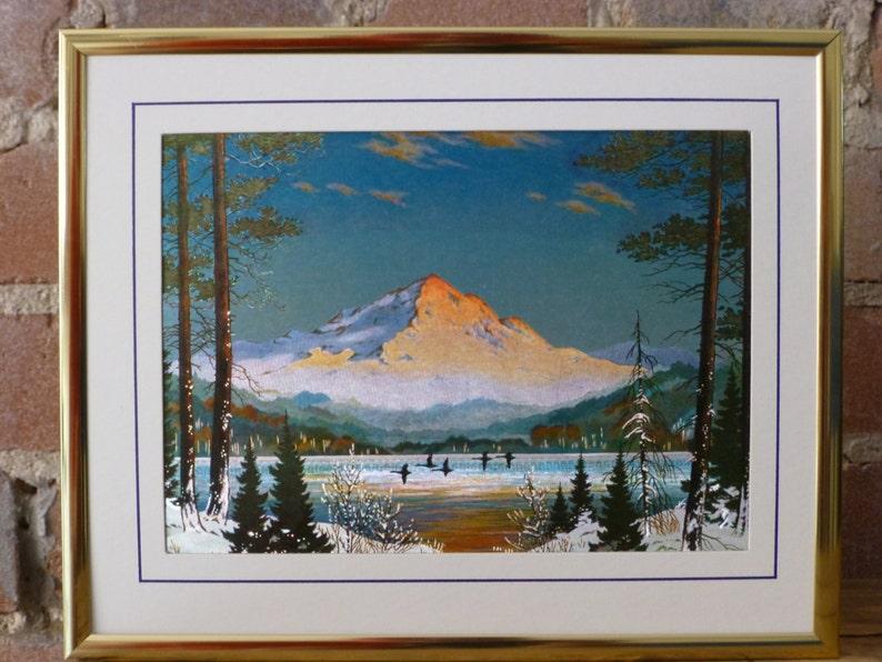 Mountain Landscape Metal Etched Art