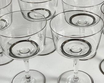 Silver Rim Vintage Coupe Glasses