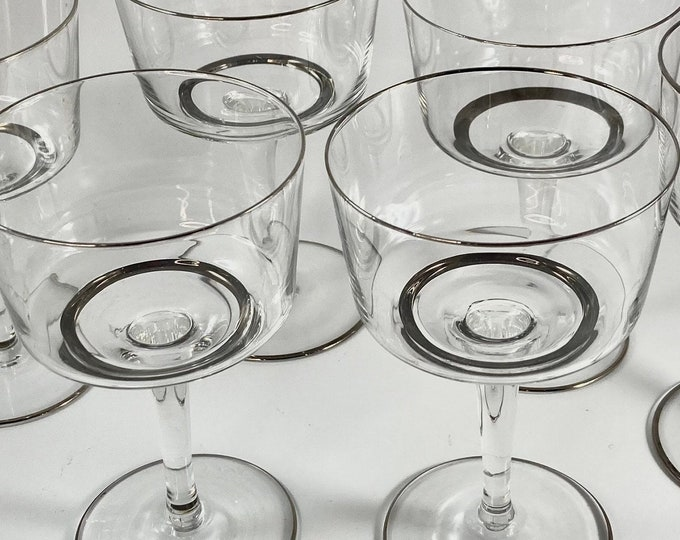 Silver Rim Vintage Coupe Glasses