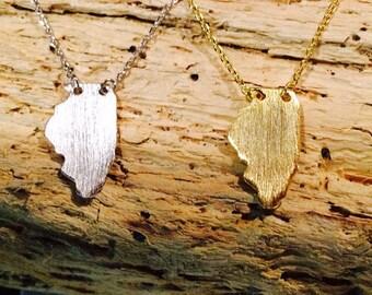 Illinois Necklace, State of Illinois, Illinois Jewelry,  Illinois, Gold Illinois Necklace, Silver Illinois Necklace