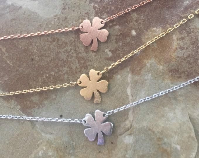 Shamrock Necklace, St. Patrick's Day, Four leaf Clover, 4 leaf clover, St. Pat's gift, holiday gift