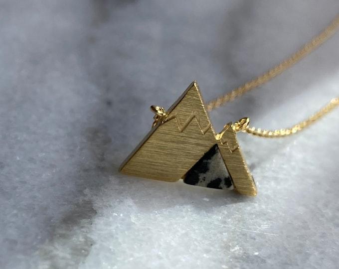 Dalmatian Stone Mountain Necklace, Mountain Necklace, Jasper Stone Mountain, Mountain