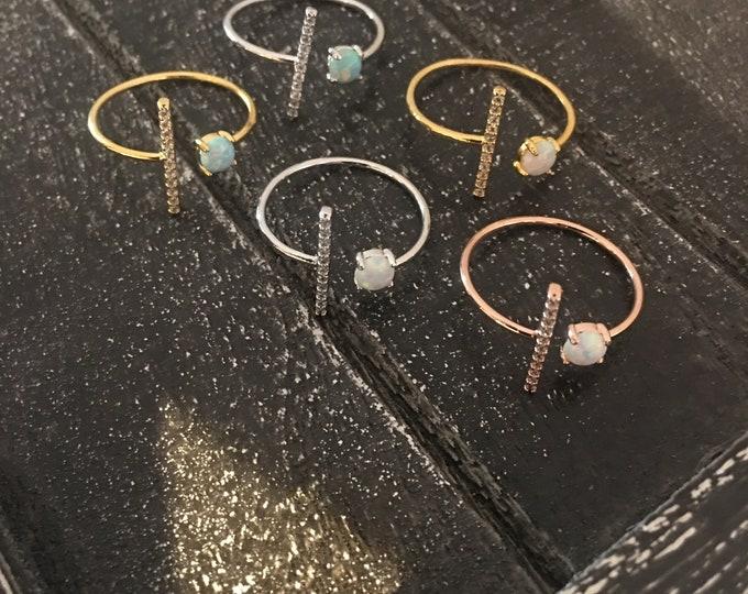 Opal Bling Bar Ring