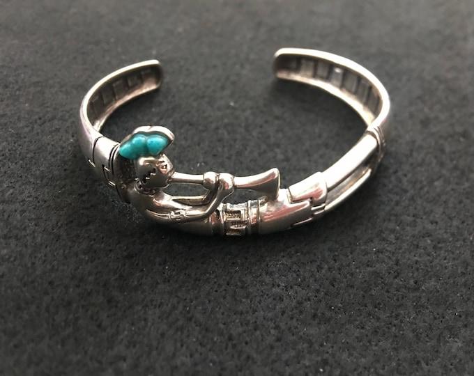 Native American Bracelet // Sterling Silver and Turquoise Bracelet // W.J.  Bracelet  Wilson Jim