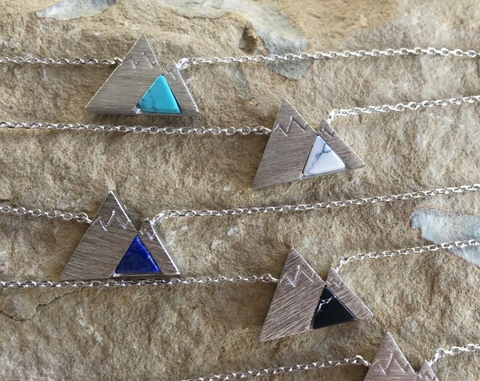 Silver Mountain Necklace, mountain necklace, turquoise mountain, mountain