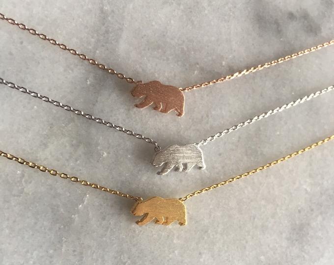 California Grizzly Bear Necklace // Bear Republic // Bear necklace //