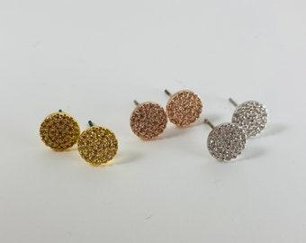 Disk Earrings, Disc Earrings, Circle Earrings, Rhinestone Earrings, Pave Earrings, CZ Earrings