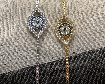 Evil Eye Bracelet, Seeing Eye Bracelet, Gold Evil Eye Bracelet, Silver Evil Eye Bracelet, All Seeing Eye