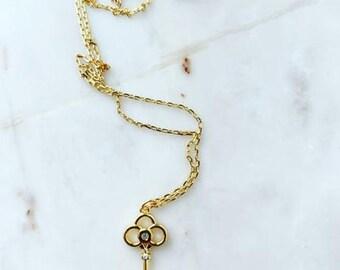 Key Trefoil Necklace, Key Necklace