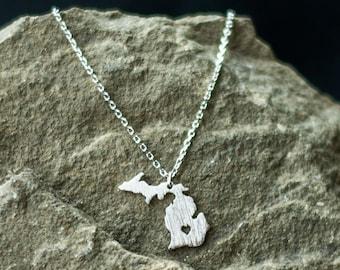 Silver Michigan Necklace