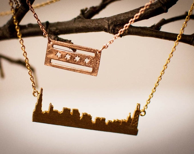 Chicago Skyline Necklace  // Chicago Flag Necklace