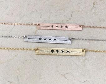 Chicago Flag Necklace, bar necklace, 4 star necklace, four star, four star necklace, 4 stars, chicago stars