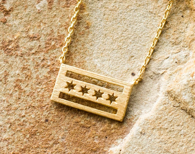 Gold Chicago Flag Necklace