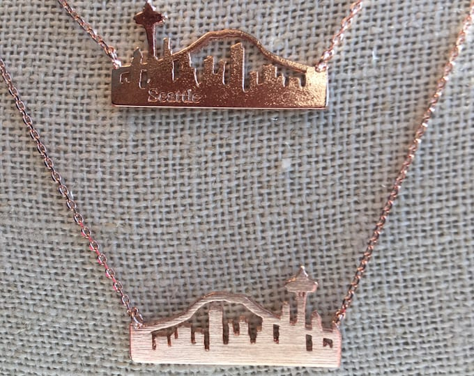 Rose Gold Seattle Skyline