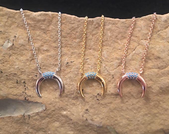 Horn necklace crescent necklace