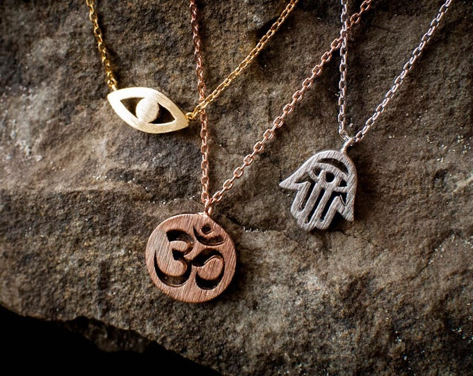 Ohm Necklace, seeing eye necklace, hams necklace, spiritual necklace, yoga, friendship gift, best friend gift, gratitude, zen