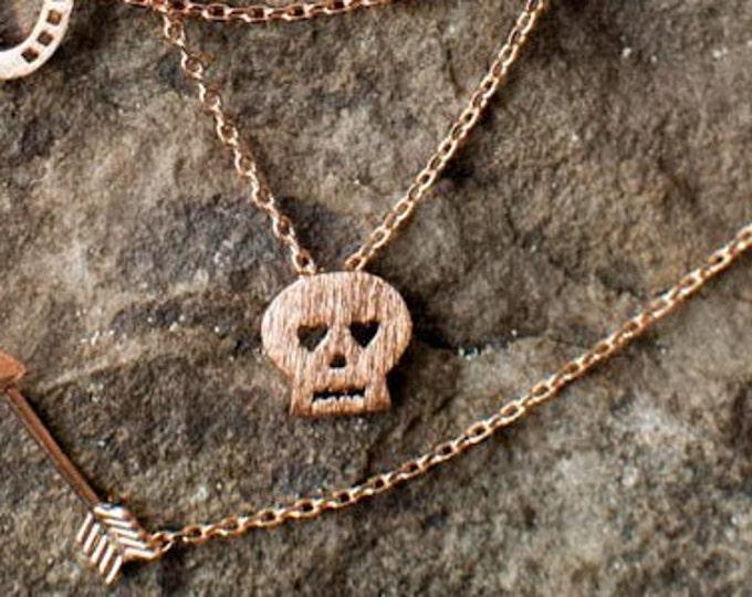 Tiny Skull Necklace. Sugar Skull Necklace dainty Skull