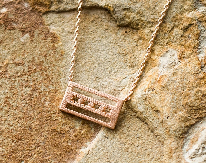 Rose Gold Chicago Flag Necklace