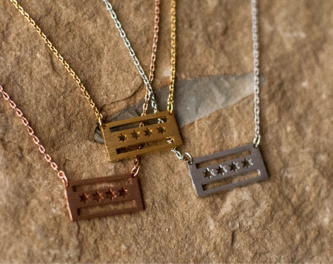 Chicago city flag necklace. BUY CHICAGO LOCAL