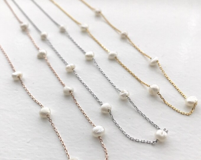Pearl Necklace Chain and Pearl Necklace Tiny pearl Necklace