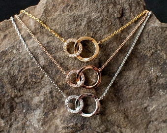 Double O Necklace circle Necklace double circle necklace rhinestone circle gold double circle silver two circle