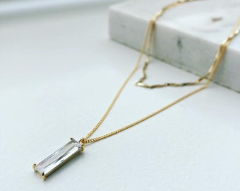 Gold Double Layer Baguette Necklace