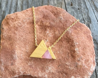 Gold Mountain necklace with Rose Stone