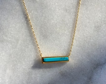 Turquoise Gold Bar Necklace