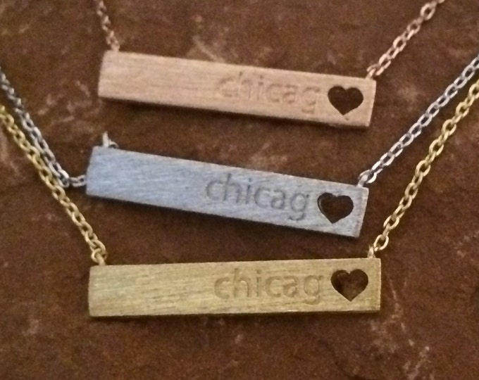 Chicago Heart Bar Necklace